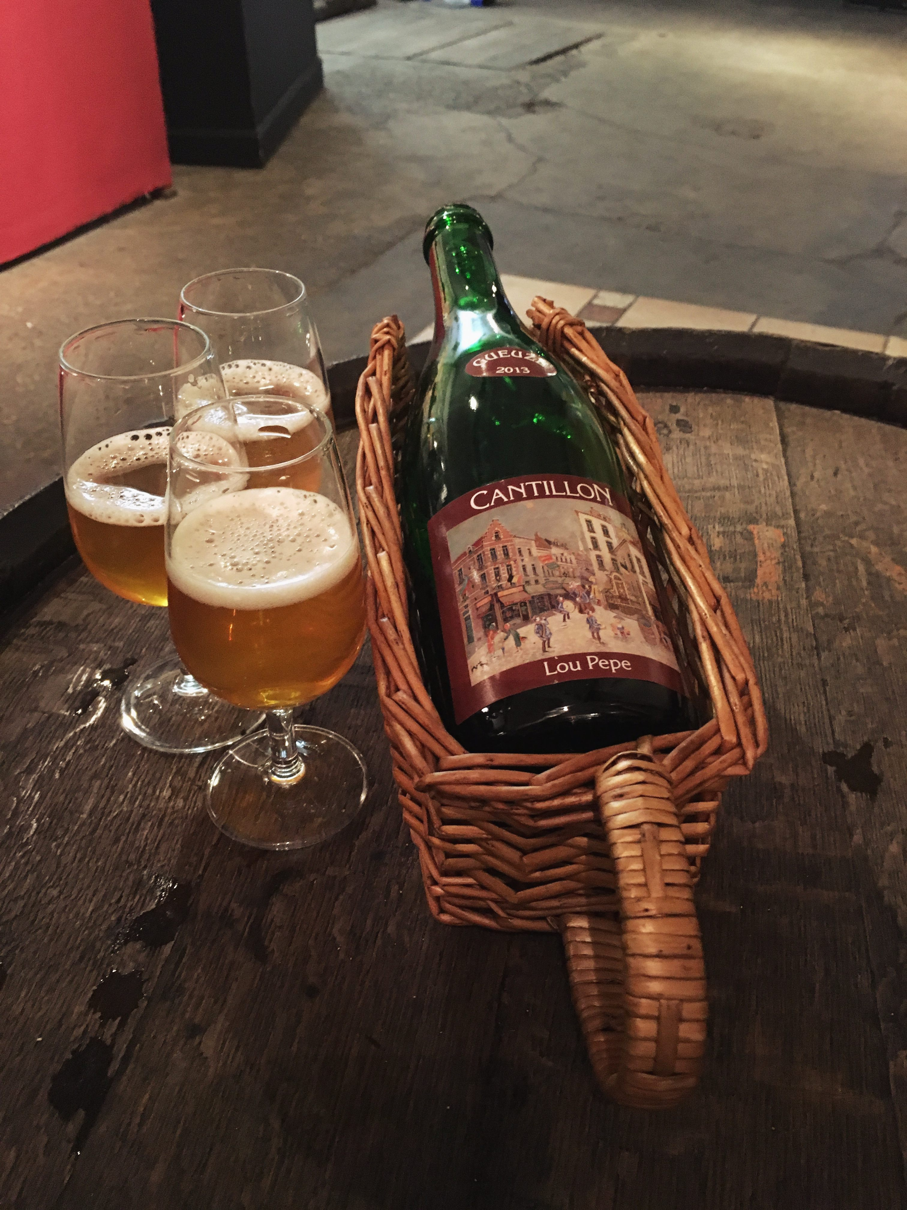 Lou Pepe Geuze bottle at Brasserie Cantillon