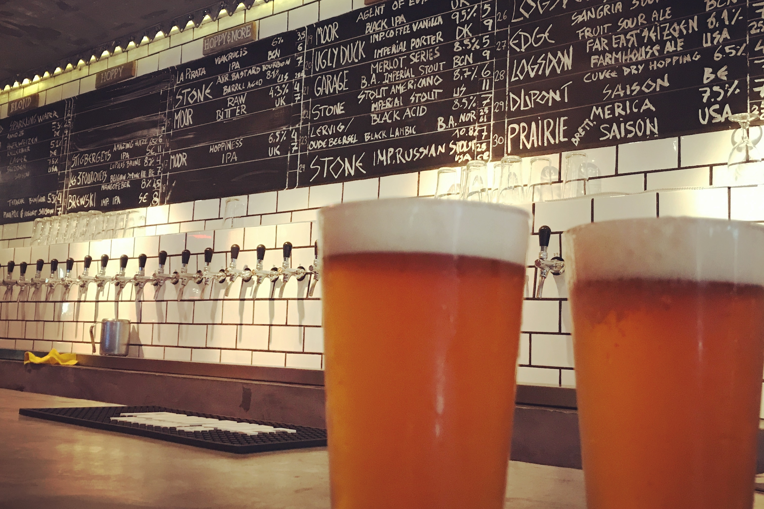 Two pints of craft beer at Olgod, Barcelona