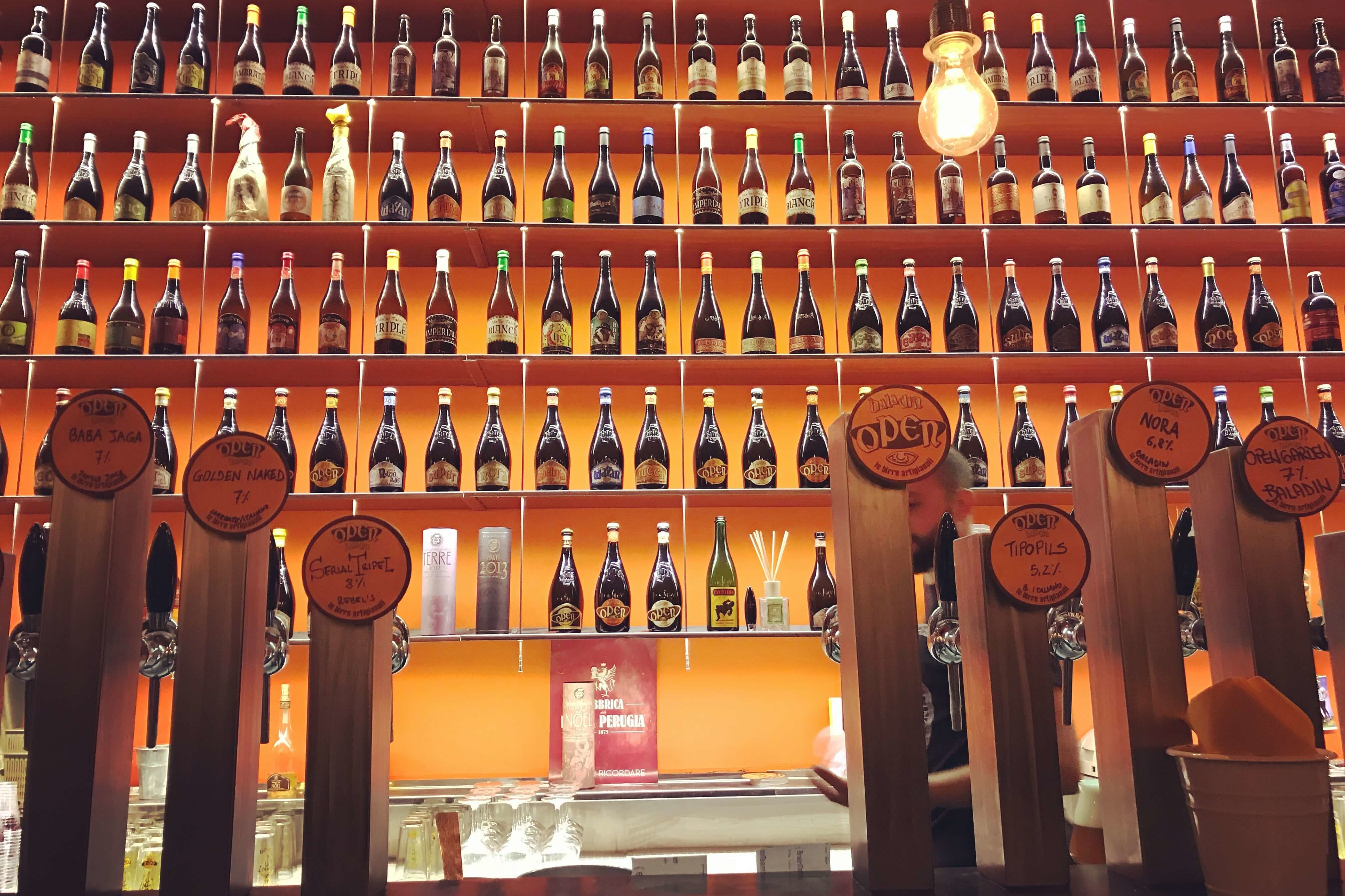 Bottle wall at Open Baladin in Rome